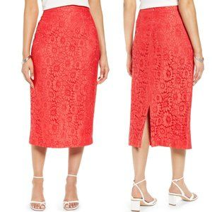 Halogen NEW Lace Overlay Lined Floral Pencil Skirt